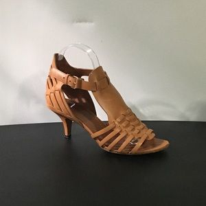 Givenchy Tan Leather Woven Gladiator Kitten Heels